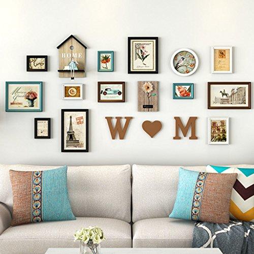 Cadre de Mur Photo de Photo de Salon, 12 PCs/Ensembles de de Photo de Collage Set, de Photo de cru, de Photo de Famille muraux de de Photo de Bricolage pour Le Mur Design à la Mode (Couleur : B)