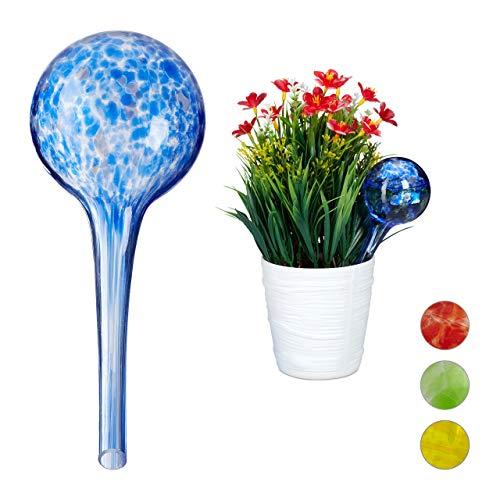Relaxdays Bewässerungskugel 2er Set, dosierte Bewässerung Pflanzen u. Blumen, Gießhilfe Büro, Urlaub, Ø 6 cm, Glas, blau, H x D: ca. 15 x 6 cm