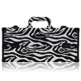 SHANY Modern Slim Train Case Makeup Organizer with Brush Holder and Lock, Mountain Zebra