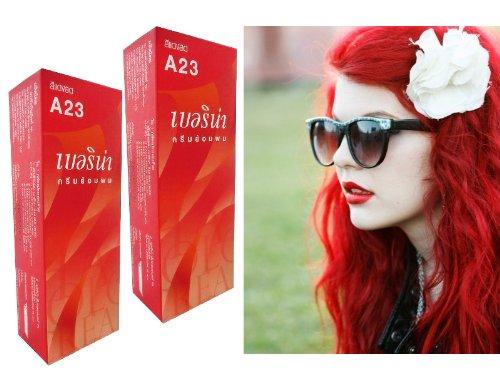 Berina Permanent Hair Color Dye Berina A23 Bright Red Color : 2 Box