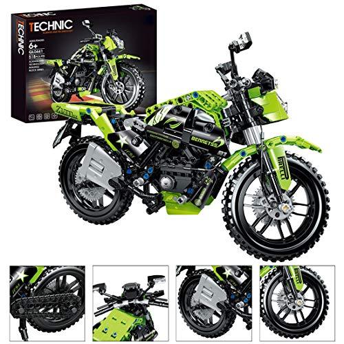 BGOOD Juego de construcción para motocicleta, 518 bloques de construcción de sujeción, técnica de mountain bike y carreras, compatible con Lego Technic