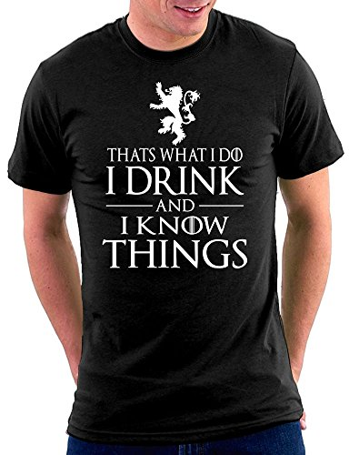 Million Nation GOT Thats What I Do I Drink And I Know Things Tyrion T-shirt, Größe XXL, Schwarz