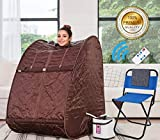 Himimi 2L Foldable Steam Sauna Portable Indoor Home Spa Weight Loss Detox with Chair Remote (Coffee-)
