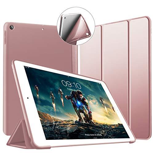 VAGHVEO 新iPad 9.7 2018/2017ケース 超薄型 超軽量 TPU ソフトスマートカバー オートスリープ機能 衝撃吸収 三つ折りスタンド iPad A1893 / A1822 / A1823 / A1954用 - ローズゴールド