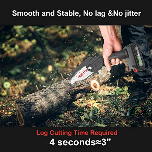 Mini Chainsaw, RIRGI 4-Inch Cordless Power Chain Saws, Pruning Shears Chainsaw, Portable 26V Electric Chainsaw, Household Small Handheld Electric Saw for Wood Cutting, Tree Pruning and Gardening