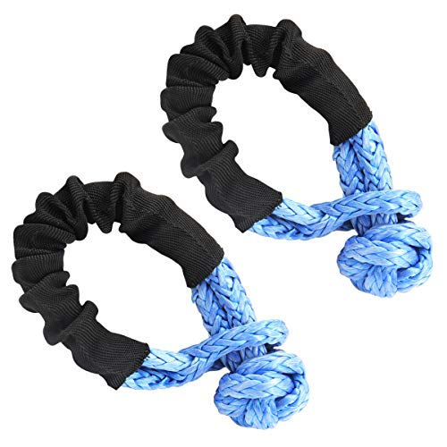 Leadrise Synthetic Soft Shackle Rope 1/2 Inch X 22 Inch (38,000lbs Breaking Strength) Soft Shackle Recovery Rope for Sailing SUV ATV 4X4 Truck Jeep Recovery Climbing Towing (Blue, 1-Pack) (2)