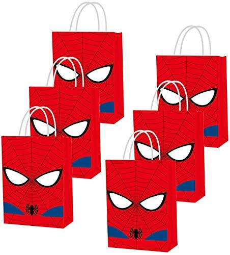 Sac cadeau Spiderman - Sac de fête enfant garçon - Thème super-héros - Décoration de fête d'anniversaire - Cadeau de super-héros - Fournitures de fête - Cadeau de bonbons - Sac à bonbons - 12 pièces…