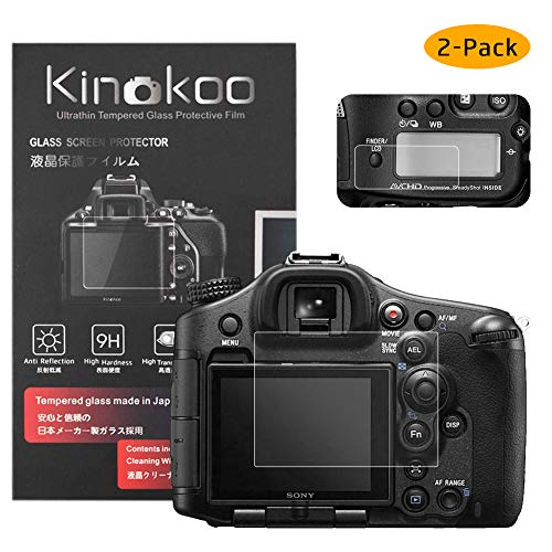 kinokoo Película de Vidrio Templado para Sony A99 II/A99 Crystal Clear Film Protector de Pantalla Sony A99 II con Protector de Pantalla Superior (Paquete de 2)
