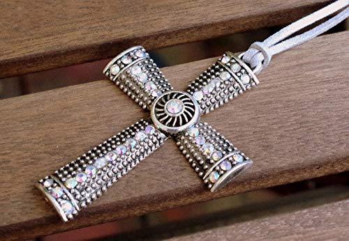 XL KREUZ Halskette grau SILBER - Velours-Lederband - Glitzersteine