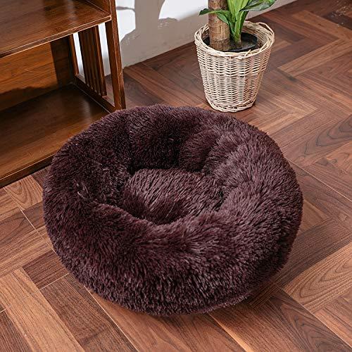 Cama gruesa Cutton redonda para perro súper suave larga de felpa para mascotas gato para perros nido cojín cama invierno cálido mascotas sofá perrera marrón XXXL120cm