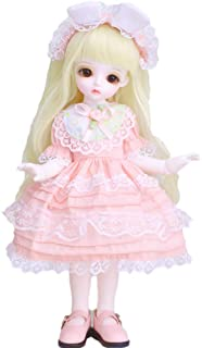 1/6 BJD Doll Ball Jointed Body Dolls, 10 Inch 1/6 SD Doll DIY Toys with Wig Skirt Makeup Shoes Accessories Best Gift for G...