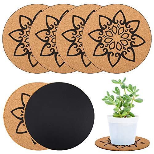 Apipi 6 Pack 8inch Rubber Coating Plant Cork Coaster Mats- Absorbent Cork Plant Plate Pad Reversible Round Cork Potted Plants Coasters Kitchen Hot Pads for Home Gardening DIY Crafting Projects