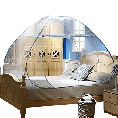 YOUJIA Double Portes Moustiquaire de lit Baldaquin Tente Moustique Tente de Lit Bleu 1.2 * 2 * 1.45m