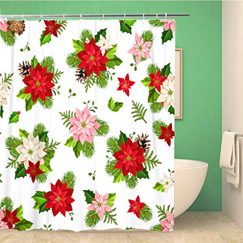 Awowee Decor Shower Curtain Christmas Red Pink and White Poinsettia Flowers Fir Tree 180x200cm Polyester Fabric Waterproof Bath Curtains Set with Hooks for Bathroom