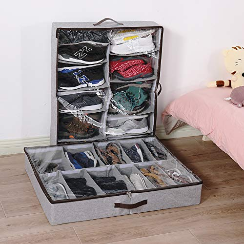 HOONEX Linen Under Bed Shoe Storage Organizer with Adjustable Compartments, Shoe Container with Leather Handles, 1 Pack, Store 12 Pairs, Grey