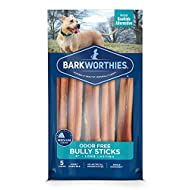 Barkworthies Odor-Free Bully Sticks - Healthy Dog Chews - Protein-Packed, Highly Digestible, All-Natural Rawhide Alternative Dog Treats - Promotes Dental Health