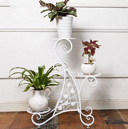 Ensemble de fleurs en fer de style européen Étagères à étages intérieurs et extérieurs à plusieurs étages Balcon Salon Étagère à fleurs Étagère à étages (Couleur : Blanc)