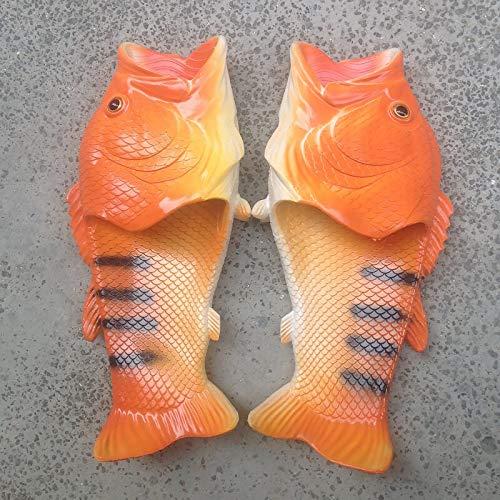 GLQ Las Diapositivas Unisex Zapatillas de Playa de los Hombres de Gran tamaño de la Familia Pescados Divertidos de los Deslizadores del Verano de los Zapatos de los Zapatos del Hombre