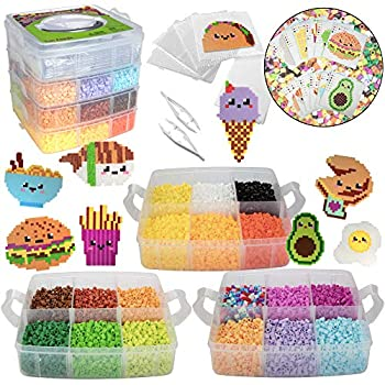 10,000pc DIY Fuse Bead Kit w Carrying Case - Fun Foods - 22 Colors 12 Unique Templates 4 Peg Boards Tweezers Ironing Paper Case - Works w Perler Beads Pixel Art Color by Numbers Craft Gift