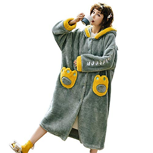 Albornoz Bata Kimono Bata Bata,Suave Albornoz para Hombres y Mujeres,Albornoz con Capucha Gruesa, Albornoz cálido para el hogar-Green_XXL