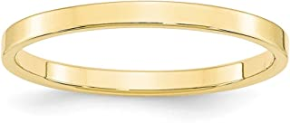 10k Yellow Gold 2mm Flat Wedding Ring Band Size 7.5 Classic Fine Jewelry For Women Gifts For Her