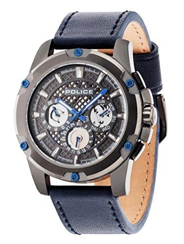 Policía Grid–Chaqueta Reloj de Cuarzo con Esfera Analógica Gris y Correa de Piel Color Azul 14689jsu/13