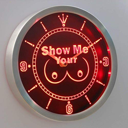 INDIGOS UG - NEON LED - Uhr - Show Me Your Tits - 25cm Neon Sign LED Wanduhr Werkstatt Disko Club Lounge Party