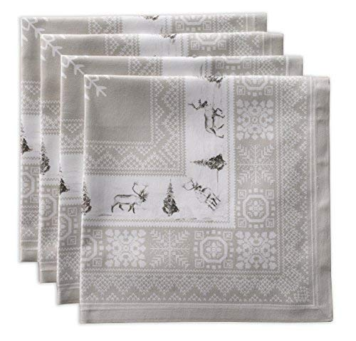Maison d Hermine Cozy Christmas 100% Cotton Soft and Comfortable Set of 4 Napkins Perfect for Family Dinners | Weddings | Cocktail | Kitchen | Thanksgiving/Christmas (20 Inch by 20 Inch).