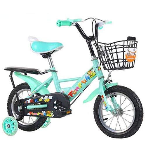 "Unbekannt Jungen Mädchen Kinder Fahrrad Kinderrad Fahrrad-Kinder Kinder-Fahrrad In Größe 12"" 14"" 16"" 18"" for 8, 9, 10, 11 Jahre Alt Mit Flash Wheel & Backseat (Color : Blue, Size : 14'')"
