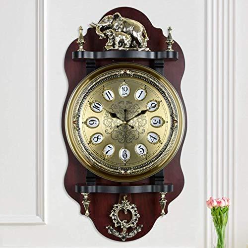 MingXinJia Home Nachttisch Wanduhr, Pendeluhr Piktogramm im Europäischen Stil Piktogramm Holz Wandglocke Wohnzimmer Mute Swing Metal Dekorative UhrenEIN
