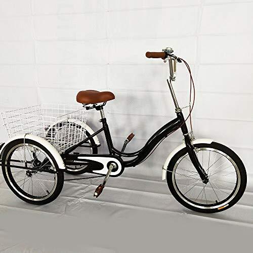 Triciclo para adultos de 20 pulgadas 3 ruedas triciclo velocidad única ocio viajes compra con cesta bicicleta para personas mayores para bicicletas de tres ruedas y cesta