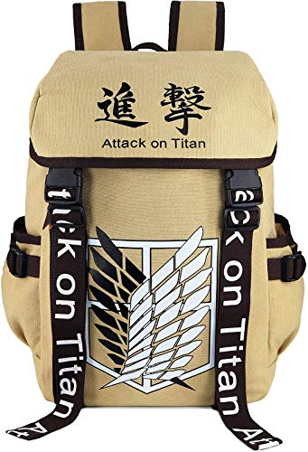 Roffatide Anime Attack On Titan Backpack Wings of Freedom Knapsack Canvas Backpack Printed Flap Bookbag