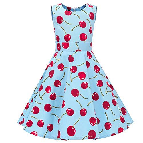 YFCH Kinder Mädchen 1950er Vintage Print Abendkleid Rockabilly Kleid Retro Cocktailkleid Faltenrock Knielang, Kirsche auf Eisblau, 104/110(Label: XS/110)