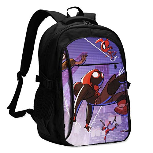 SPI-Der-Man Travel Laptops Backpack with USB Charging Port,Business Anti-Theft Slim Durable,Water Resistant College School for Women & Men Fits 15.6 Inch Laptop