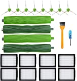 Mountain god Replacement Parts Kit for iRobot Roomba i7 i7+/i7 Plus E5 E6 Vacuum Cleaner Accessories Pack of 2 Set of Multi-Surface Rubber Brushes +8 HEPA Filters +8 Edge-Sweeping Brushes(18 Pack)