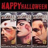 3 PCS Halloween 3D Zombie Narben Tattoos Aufkleber mit gefälschten Schorf Blut Special
