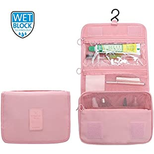 2017 New Bathroom Organizer Travel Nylon Portable Hanging Toiletry Cosmetic Bag by 90 Points for Women and Men, 5 Colors