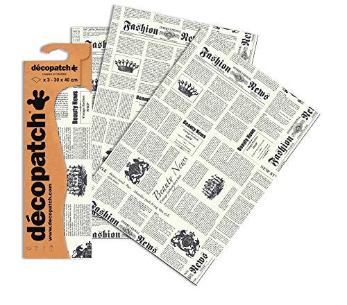 Decopatch Papier No. 770 (weiß schwarz Zeitung, 395 x 298 mm) 3er Pack