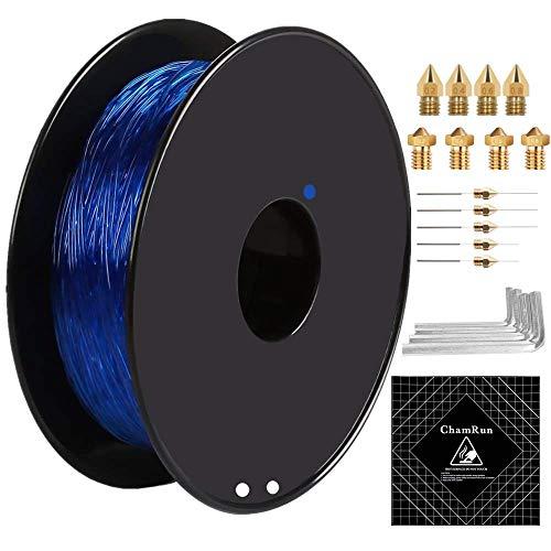 ChamRun - Filamento flessibile in TPU da 1,75 mm, 0,8 kg, con accessori 3D, precisione dimensionale +/- 0,03 mm, per stampante 3D Creality Ender 3s 5 CR10 V2 Prusa I3 1,75 mm, colore: Blu