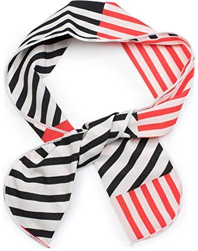 styleBREAKER Damen Multifunktionstuch schmal mit Streifen Muster, Haarband, Tuch, Halstuch, Schleife, Taschenband 04026024, Farbe:Rot-Schwarz-Weiß