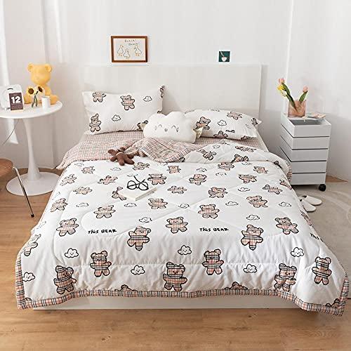 haoyunlai Sommerdecke Ganzjahresdecke Bettwaffe Decken Weiches Drucken Sofa Decke Dünne Sommer Klimaanlage Quilts Home Bettwäsche-Kakao_180x220 cm.