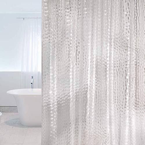 WELTRXE Shower Curtains EVA Waterproof Bathroom Curtain Liner 3D Effect Water Cube Heavy Duty Shower Curtain with 3 Magnets, Mould Proof Mildew Resistant Bath Curtains with 12 Hooks, 183 x 183 cm