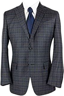 Mil Easy Grey Blue Wool Checked Woven Dual Vents 2Btn Jacket 40R