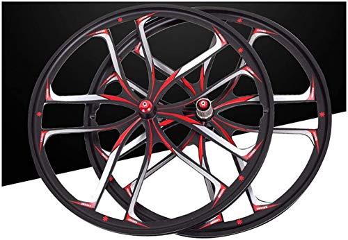 Juego de ruedas de bicicleta de montaña de 26 pulgadas, aleación de magnesio, doble pared, llanta MTB, freno de disco, tornillo, cubo, disco negro, 10 orificios, 8 9, 10 velocidades, ruedas delantera