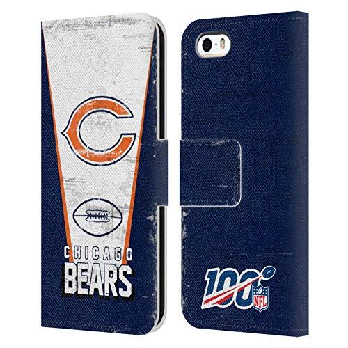 Head Case Designs Licenza Ufficiale NFL Banner 100esimo Chicago Bears Logo Art Cover in Pelle a Portafoglio Compatibile con Apple iPhone 5 / iPhone 5s / iPhone SE 2016
