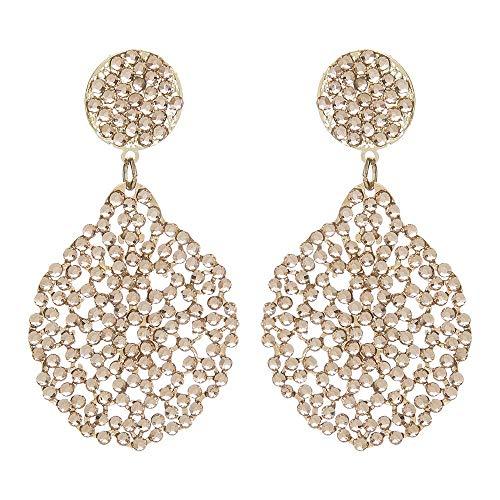 Sodini - Pendientes con colgante Iride de oro y pedrería rosa claro