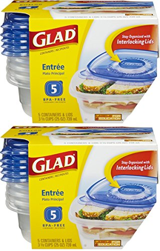 GladWare Entree Containers with Lids, 5-Containers (Pack of 2)