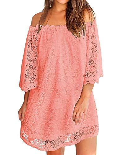 ZANZEA Donna Abito Corto Pizzo Maniche Lunghe Senza Spalle Vestito Donna Elegante Casual Moda Camicia Lunga Primavera Autunno 04-Rosa XXL