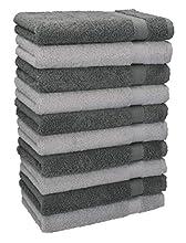 Betz Paquete de 10 Toallas de tocador Premium tamaño 30x50cm 100% algodón Gris Plata y Gris Antracita