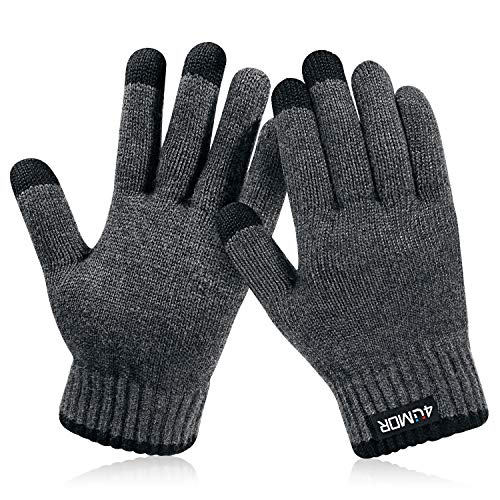 4UMOR Winter Warm Knit Gloves Touchscreen Super Soft Thick Fleece Gloves Outdoor Windproof Driving Gloves for Men and Women, Medium, Grey